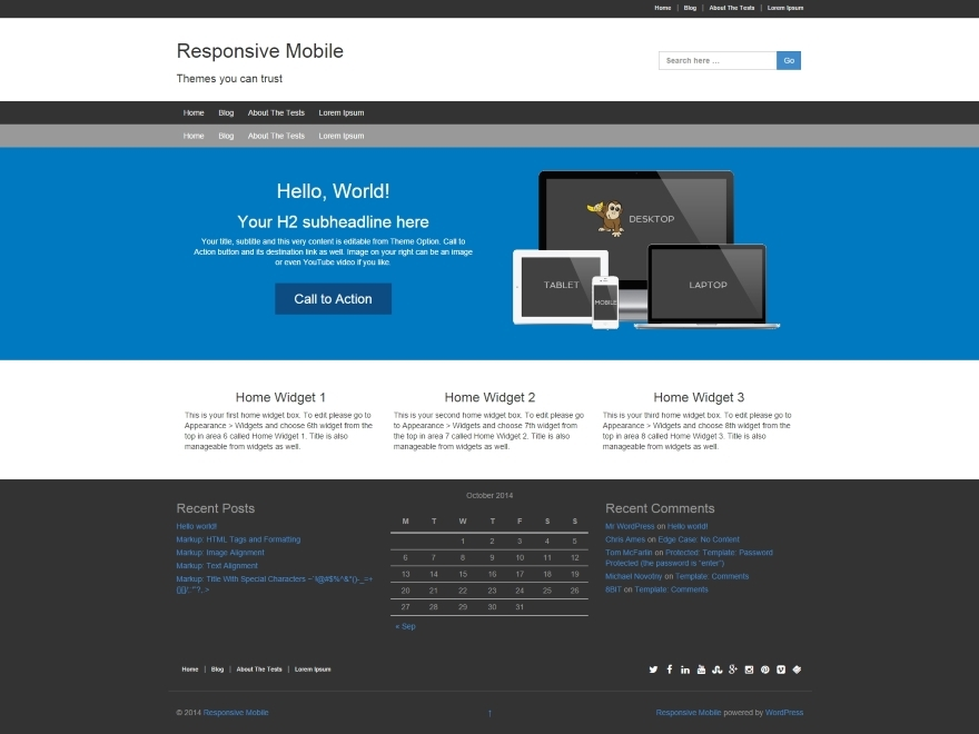 Responsive II Child Theme WordPress theme