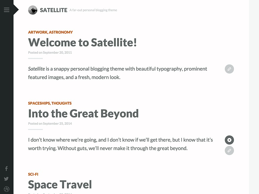 Satellite WordPress photo theme