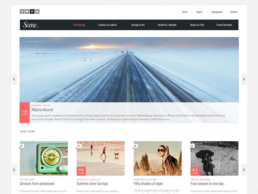 Scene WordPress news template