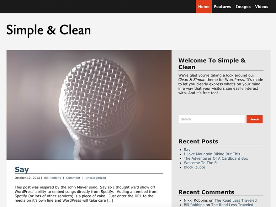 Simple and Clean WordPress template free
