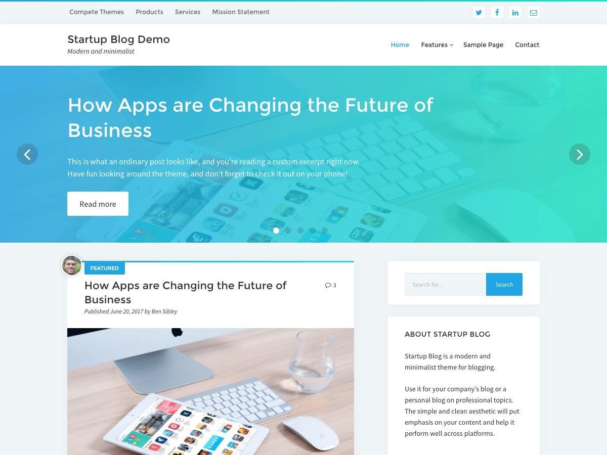 Startup Blog WordPress news theme
