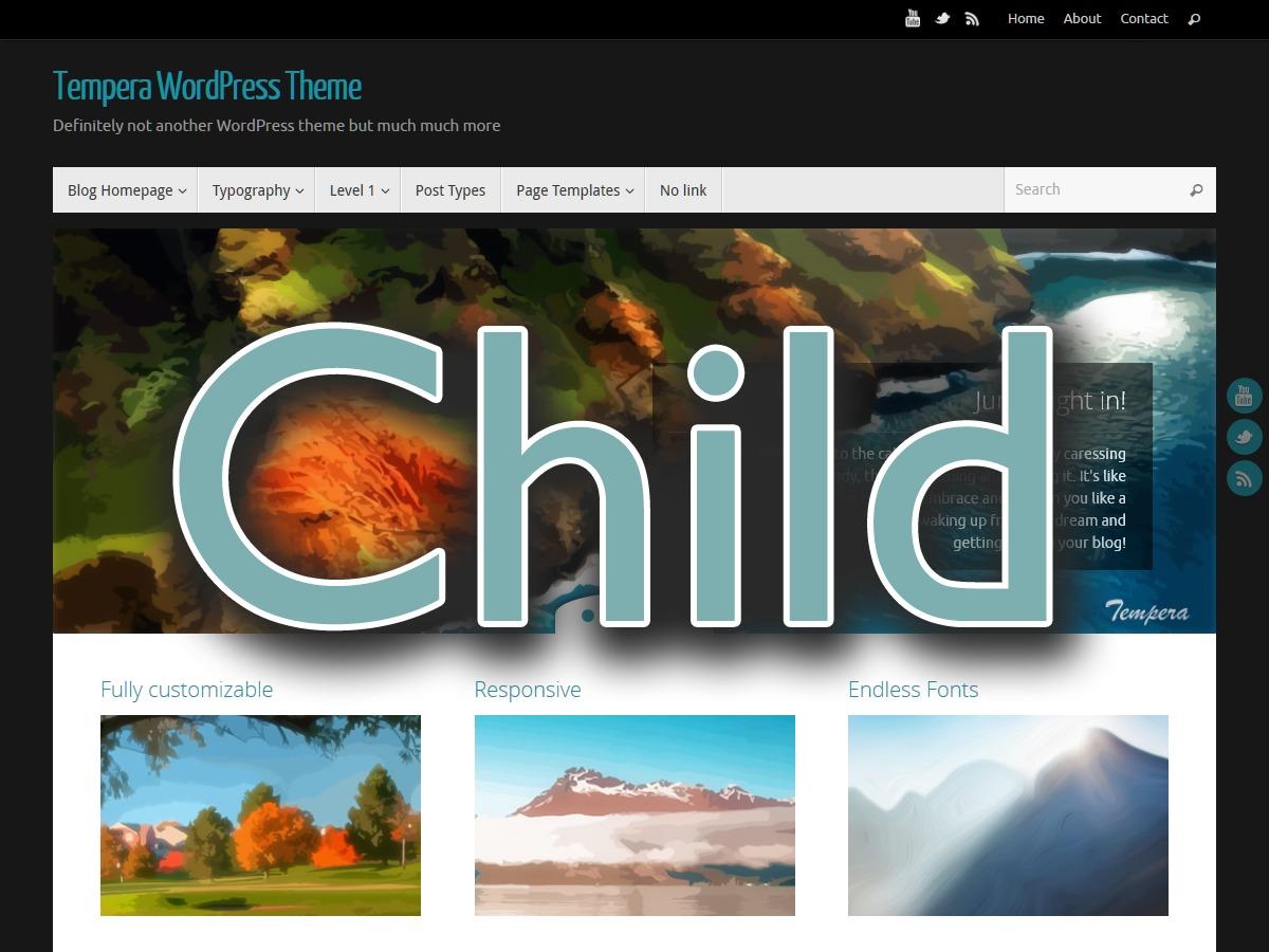 Tempera Child WordPress photo theme
