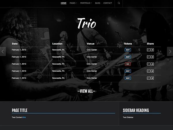 Trio WordPress page template