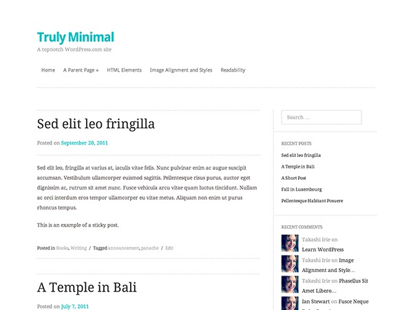 Truly Minimal WordPress page template