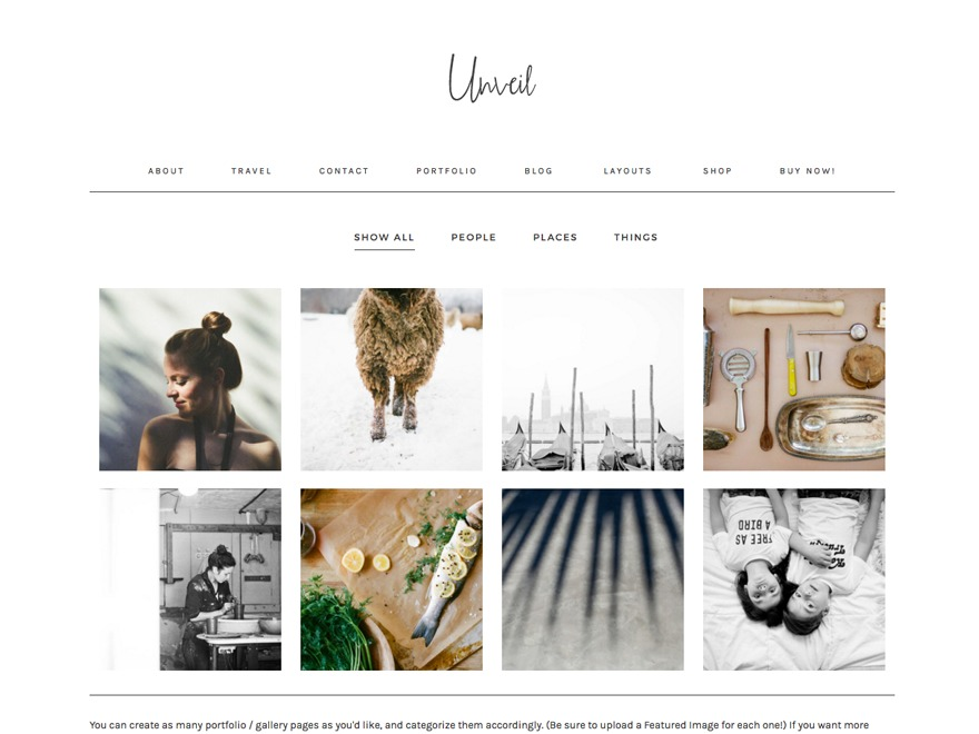 unveil WP theme