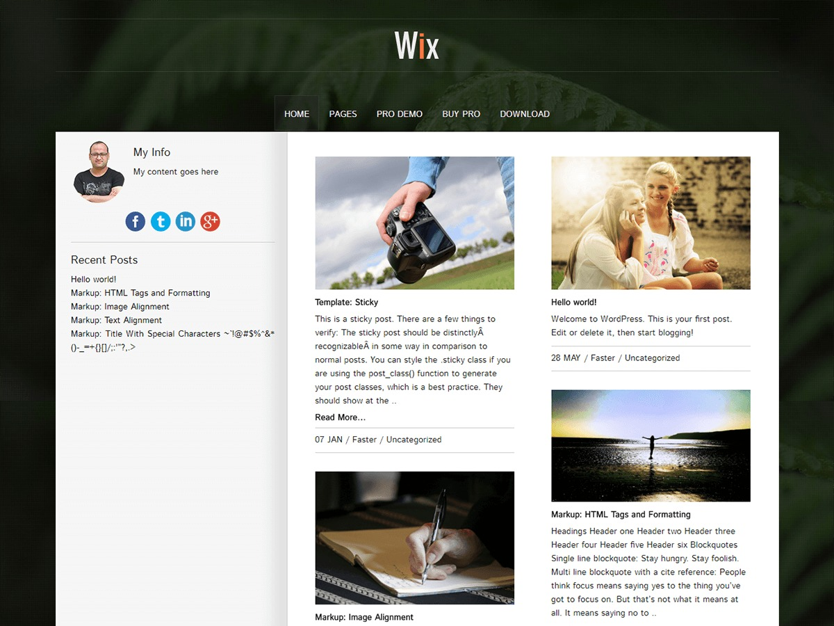 WIX WordPress theme free download