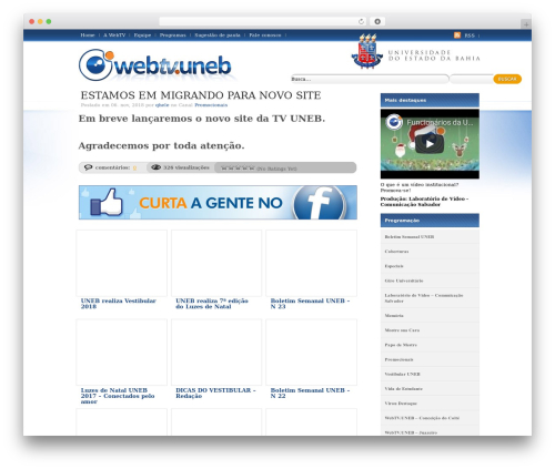 WooTube WordPress theme - webtv.uneb.br