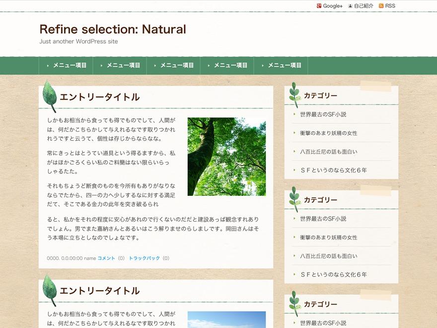 WordPress theme Refine Selection: Natural