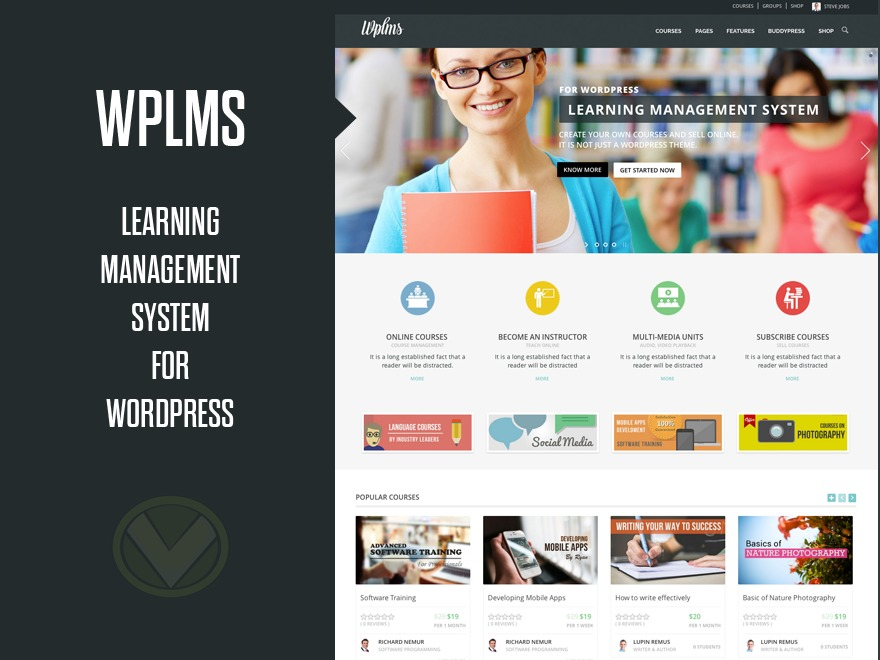 WordPress theme WPLMS (Share On Theme123.Net)