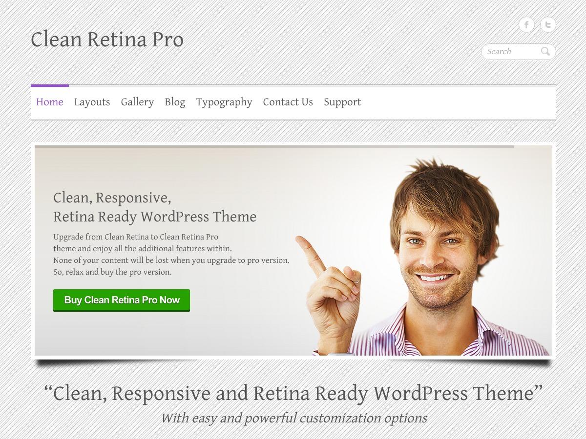 WordPress website template Clean Retina Pro