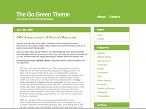 WP template The Go Green Theme