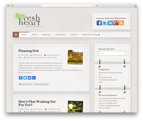 Artificer WordPress theme design - freshheartministries.org