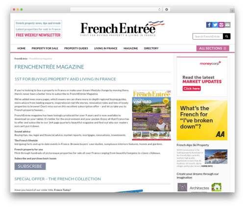 French Entrée WordPress website template by Tom Dyer - frenchentree