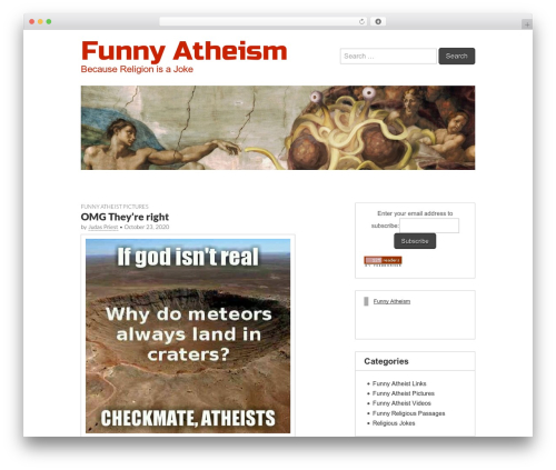 Gridiculous free WordPress theme - funnyatheism.com
