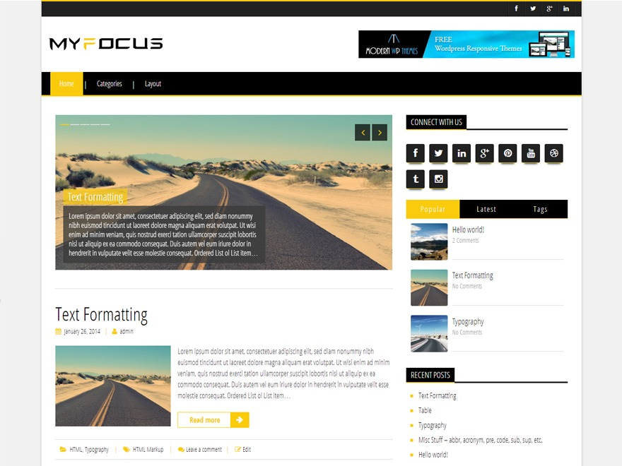 My Focus WordPress website template