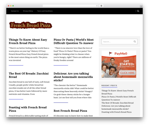 Sense WordPress pizza theme - frenchbreadpizza.net