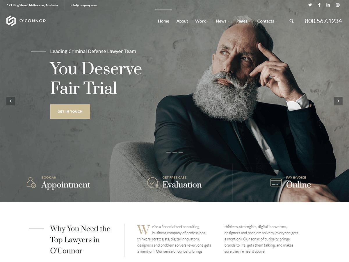 O'Connor business WordPress theme