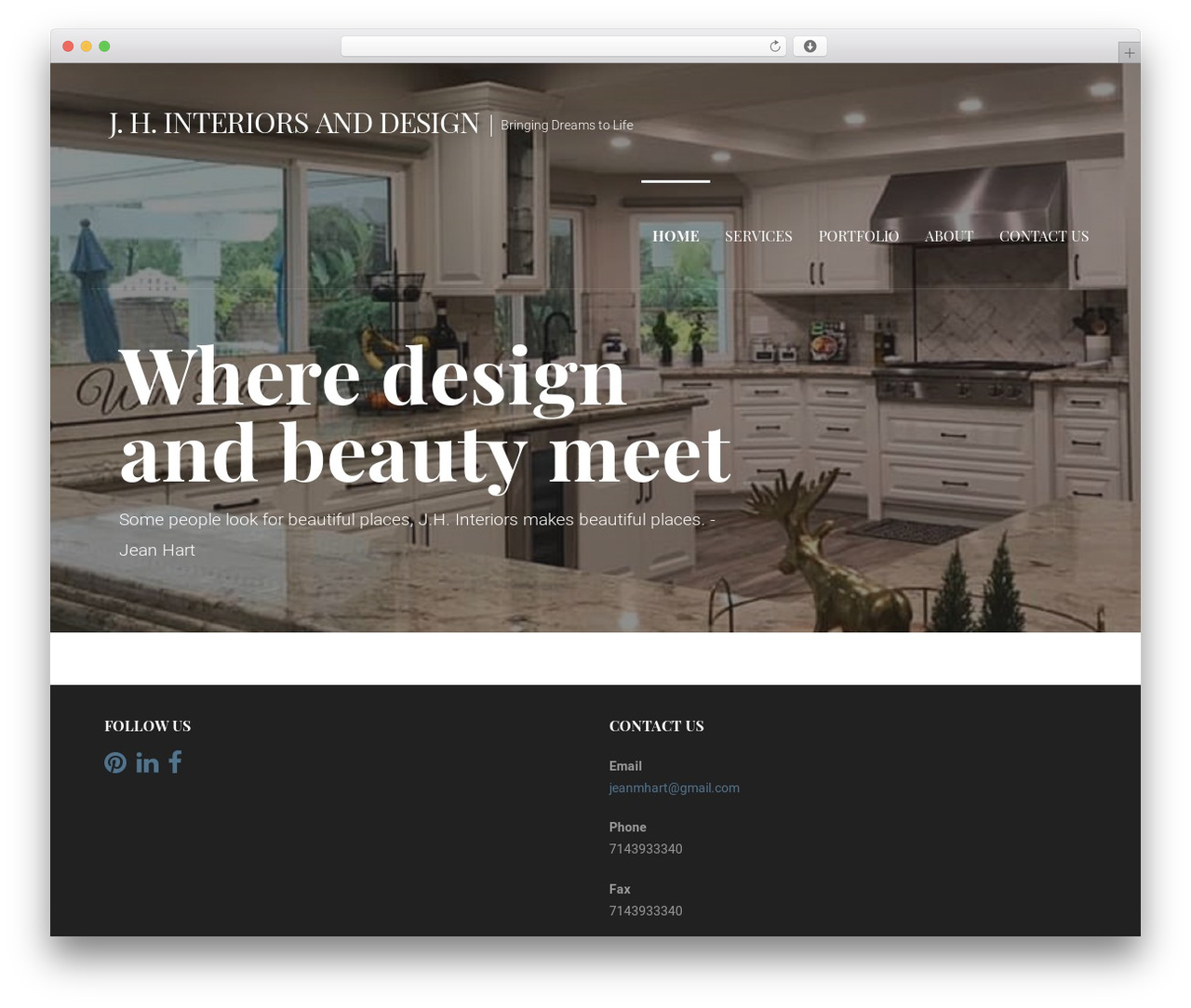 Primer theme WordPress - jeanhartinteriors.com