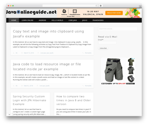 WordPress theme Pinboard - javaonlineguide.net