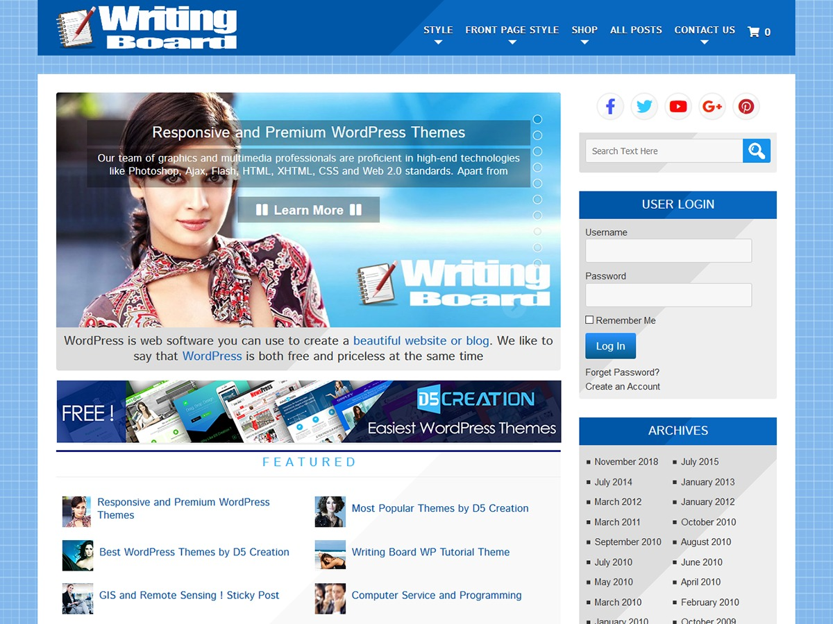 Writing Board Extend WordPress blog theme