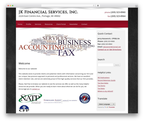 Customized WordPress theme - jkfinancialservice.com
