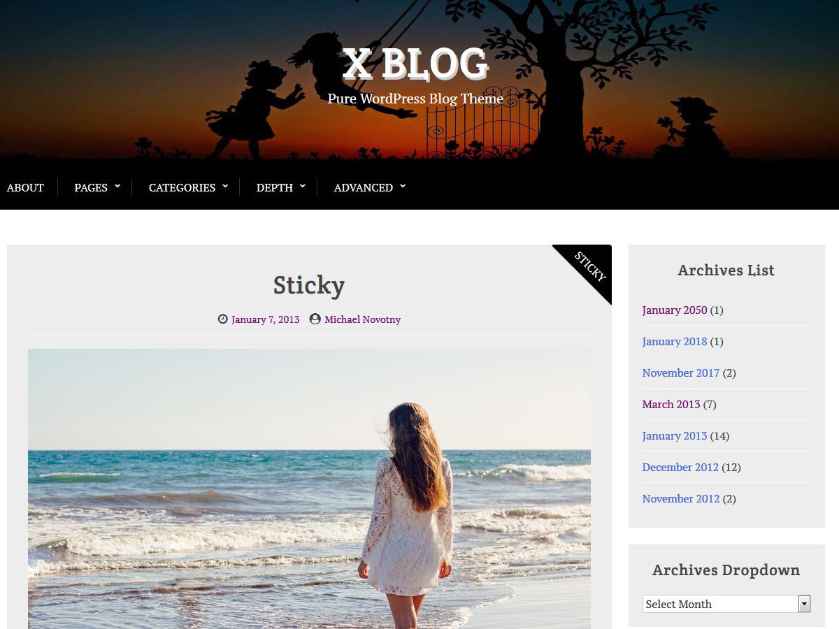 X Blog WordPress blog theme