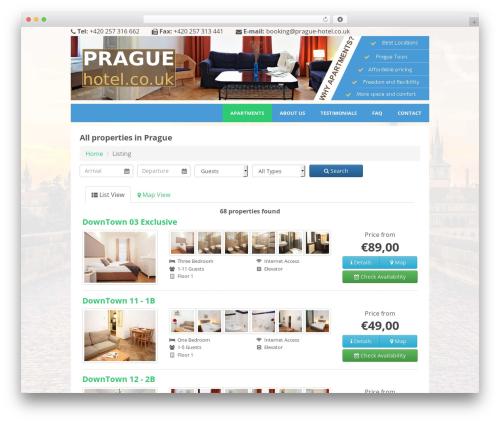 Apartments best hotel WordPress theme - prague-hotel.co.uk