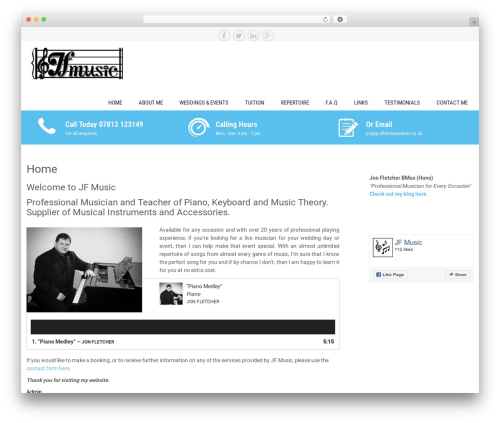 Sanitorium best free WordPress theme - jf-music.co.uk
