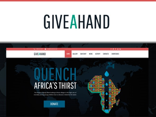 GiveAHand Charity Responsive WP Theme WordPress website template