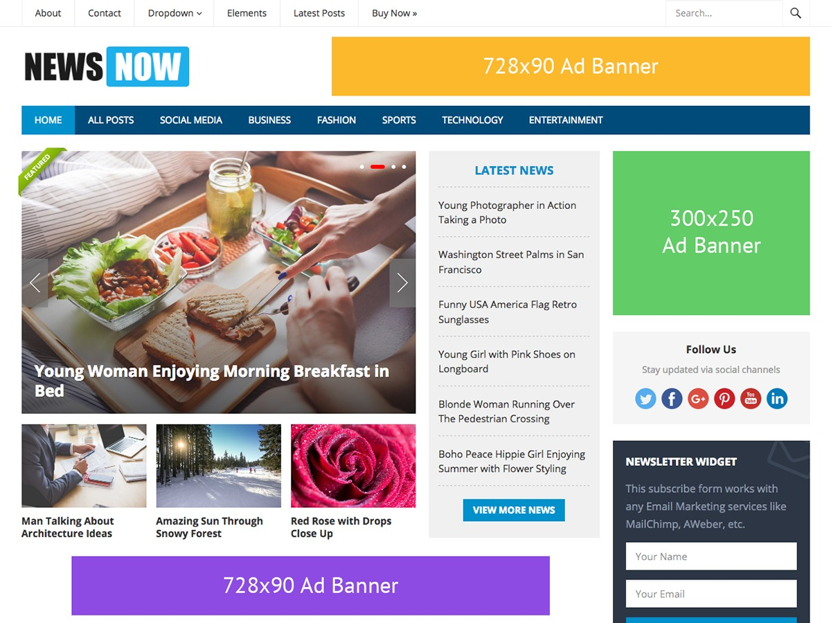 NewsNow best WordPress magazine theme