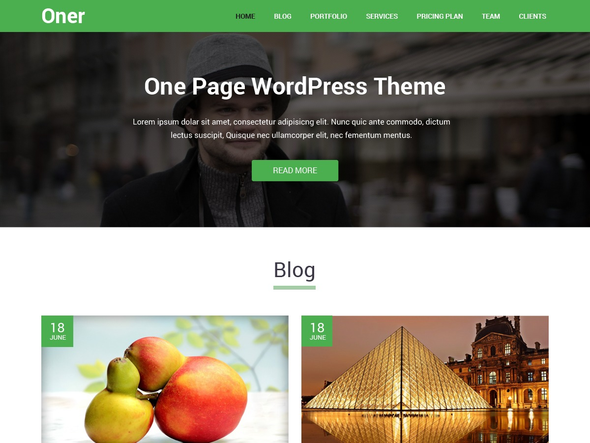 Oner template WordPress free