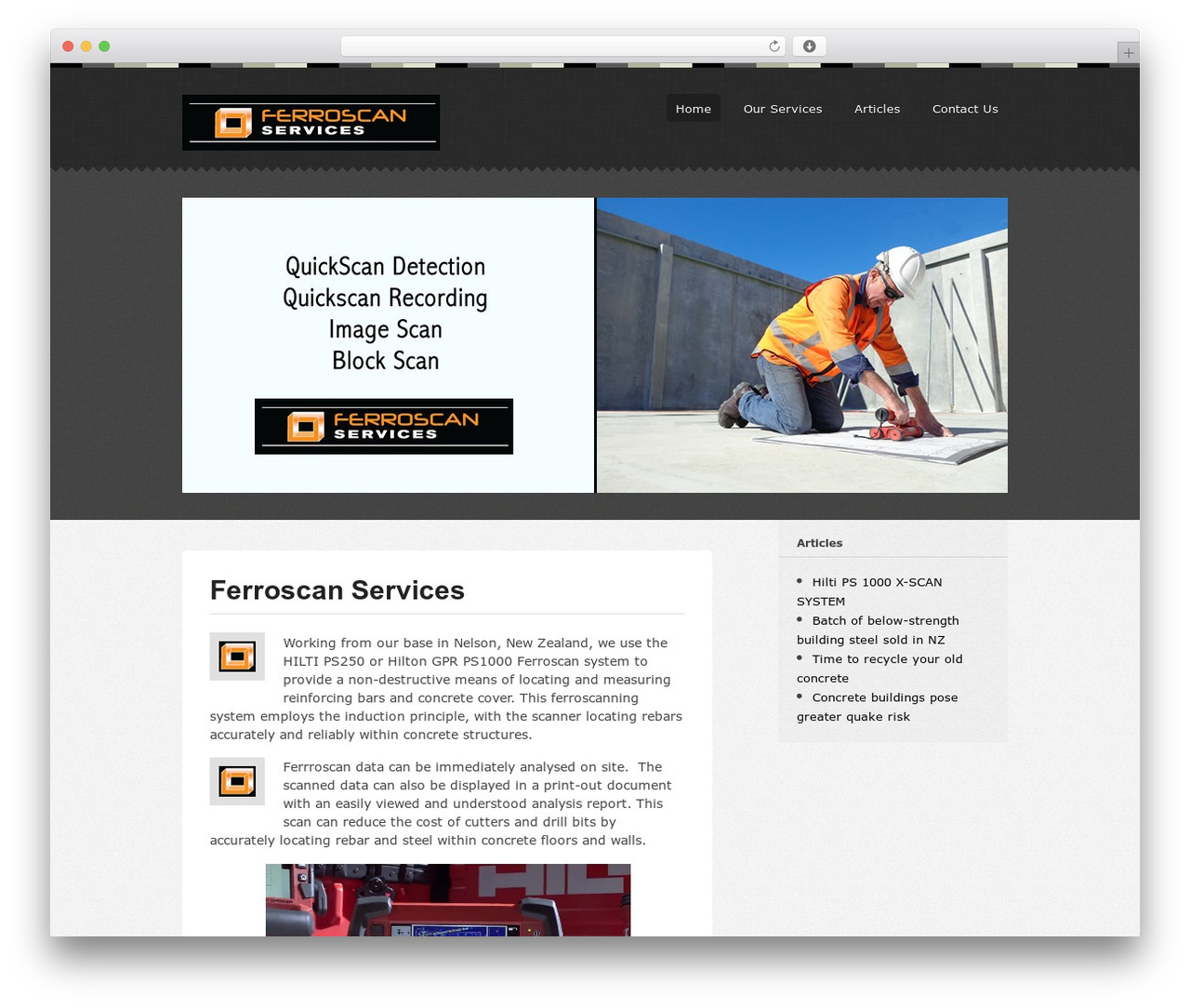 Swatch WordPress page template - ferroscanning.co.nz