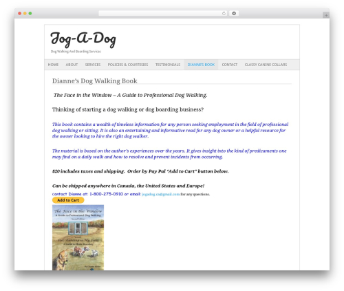 Fresh And Clean WordPress template for business - jogadog.ca/dog-walking-book