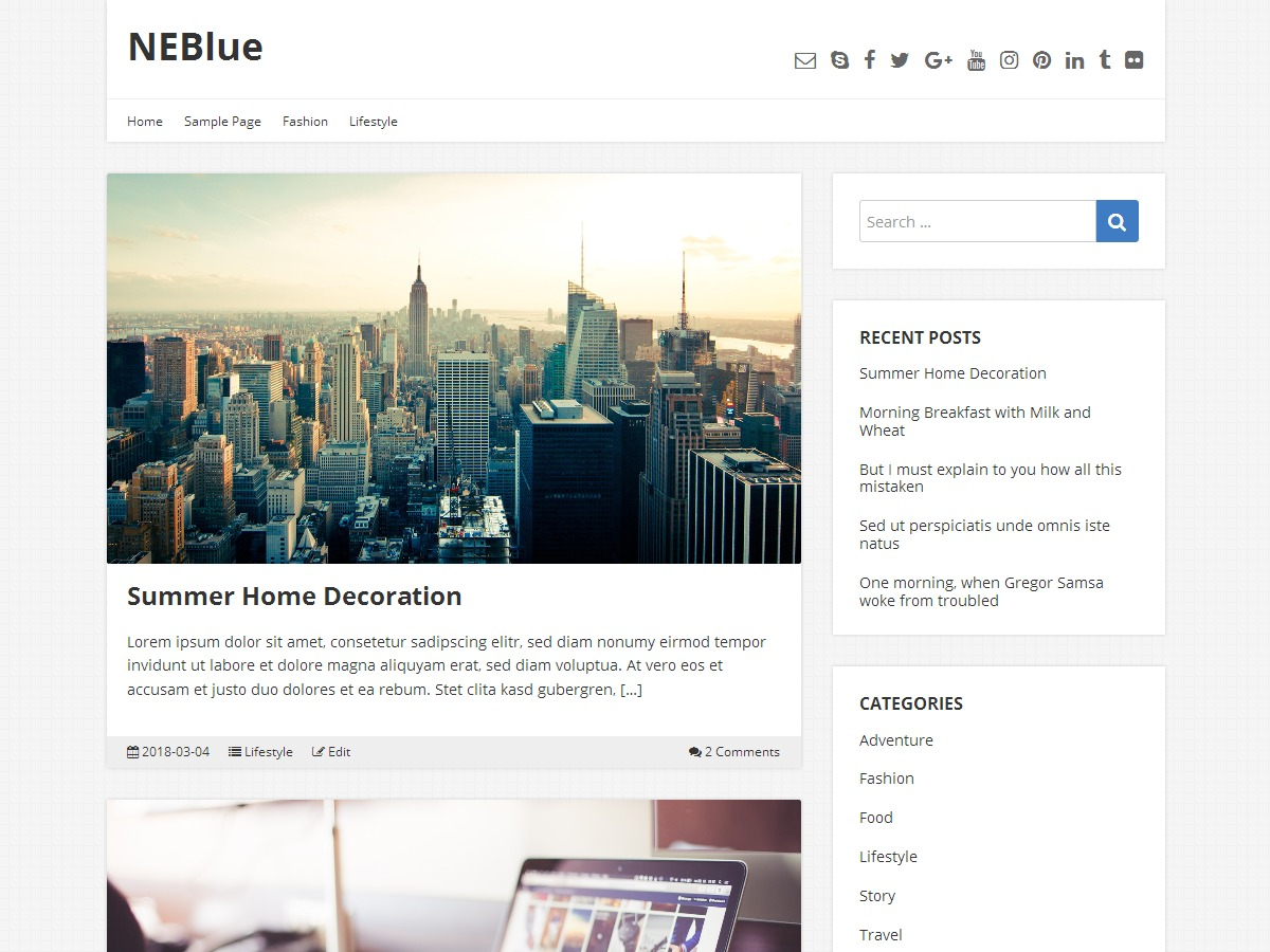 WordPress theme neblue Child