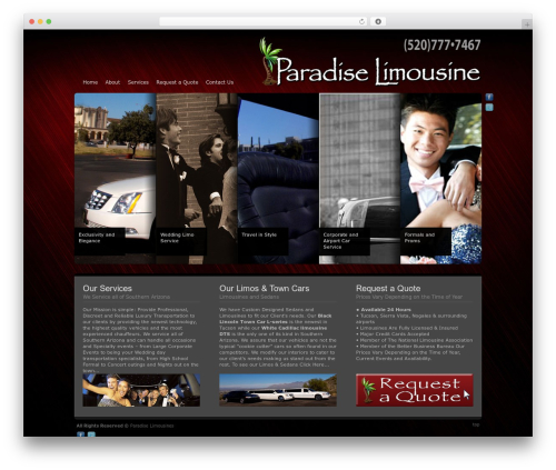 Andromeda business WordPress theme - paradiselimousinestucson.com