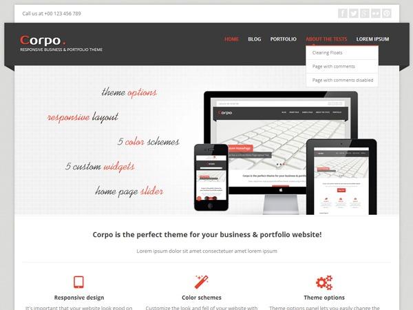Corpo personal blog WordPress theme