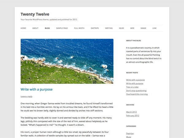 Template WordPress 2012 Child Theme