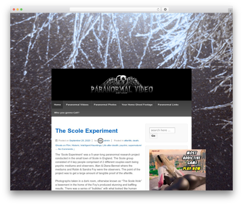 Responsive WordPress page template - paranormalvideoarchive.com