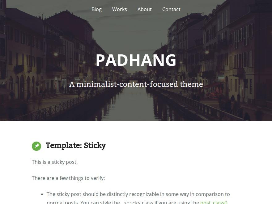 WordPress website template Padhang