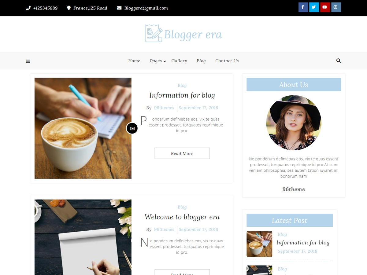 Blogger Era business WordPress theme