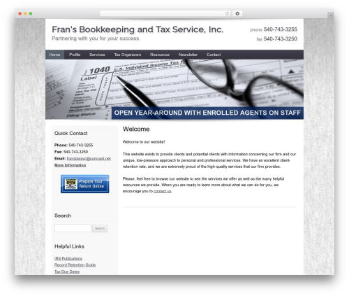 Customized WordPress template for business - franstaxservice.com