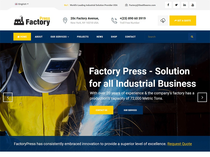 Factorypress WordPress theme