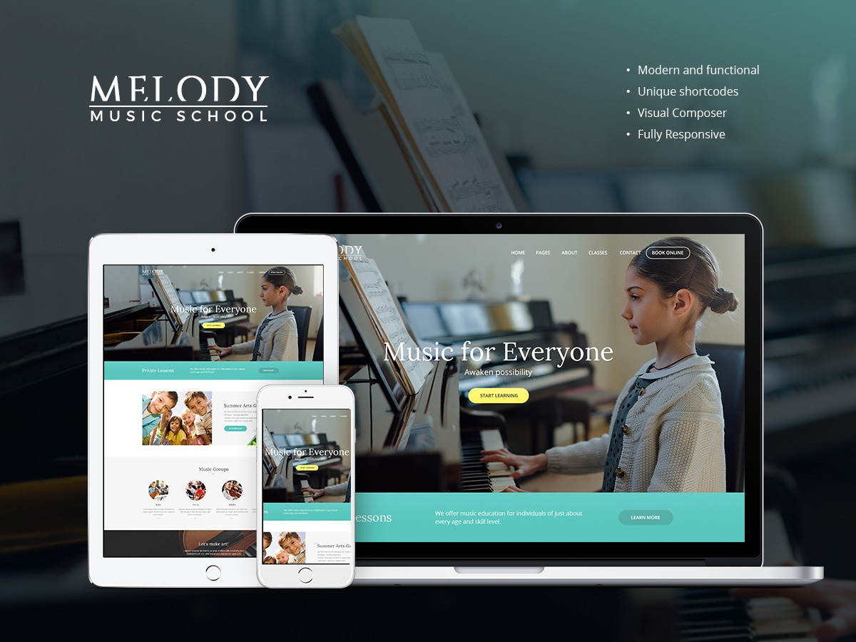 MelodySchool WordPress website template