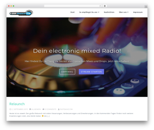 Parallel free WordPress theme - fastdance.fm