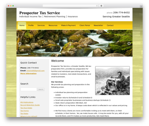 Customized WordPress template for business - prospectortax.com