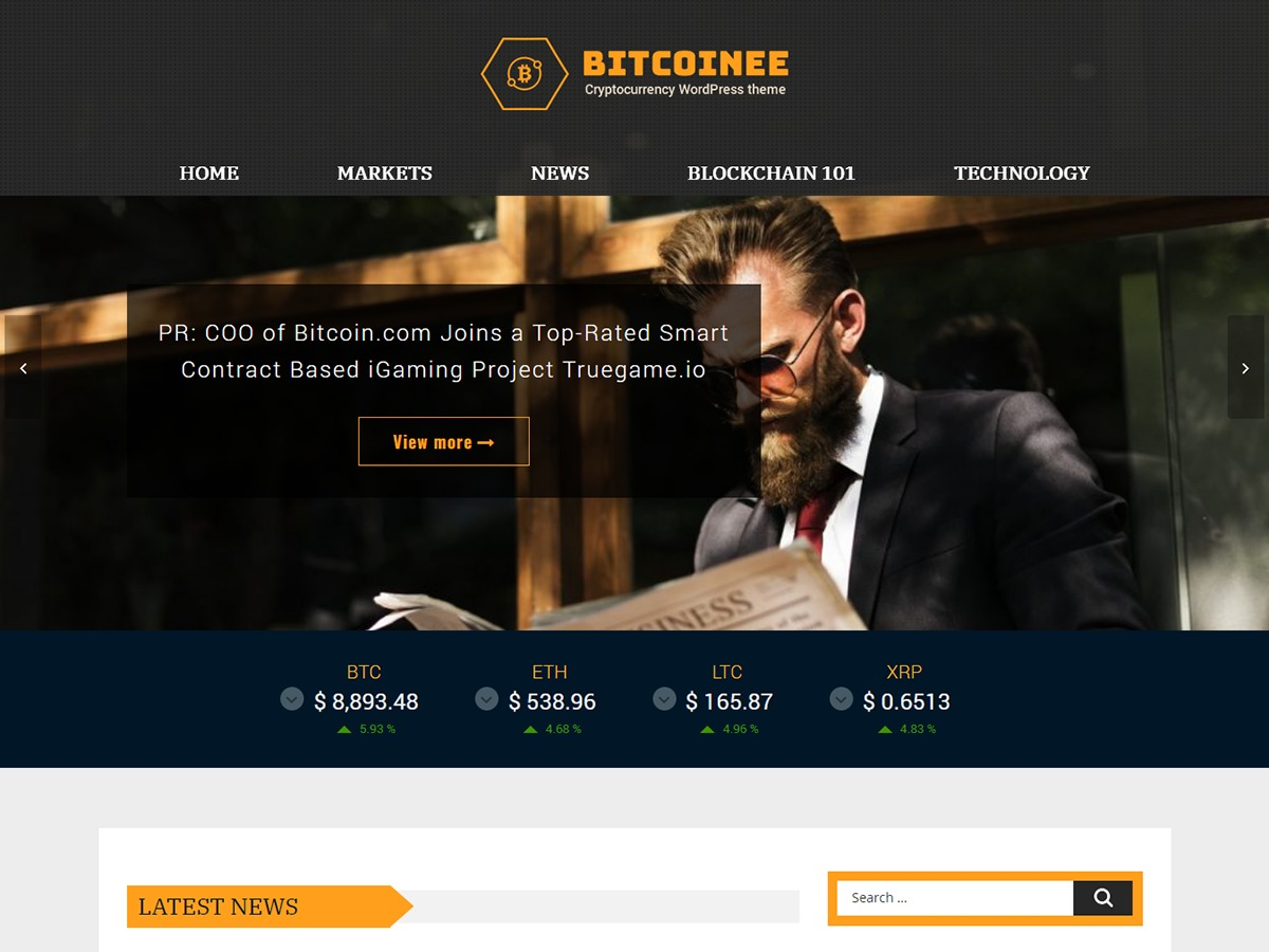Bitcoinee WordPress blog template