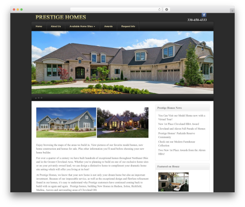 Akita WordPress template - prestigehomesbuilders.com