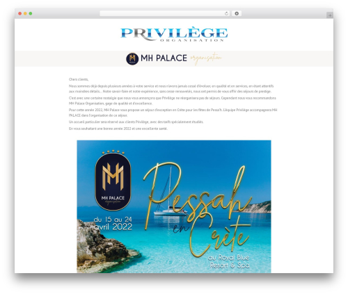 Lounge WordPress theme design - privilege-organisation.com