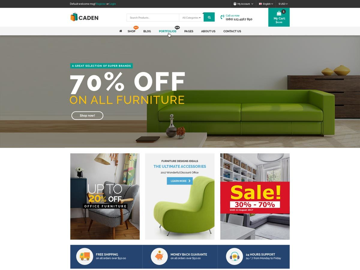 Caden WordPress ecommerce template