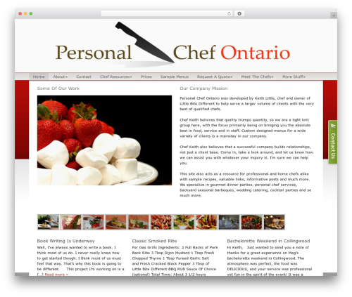 Catalyst WordPress theme design - personalchefontario.com